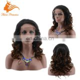 Hot Selling Cheap Unprocessed Ombre Brown Brazilian Virgin Human Hair Wet And Wavy Lace Front Full Lace Wig
