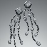 Sterling Silver David Yurman  Pave Diamond Confetti Tassel Earrings