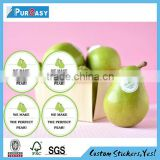 Top grade printed ecological removable fruits label stickers