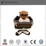 Fashion resin black suit chef salt and pepper shaker
