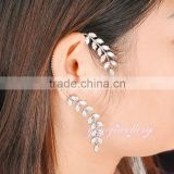 Artificial jewellery one side long drop gold zircon ear cuff earrings