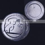 cheap custom silver coins ,zin alloy, die cast with 2D LOGO,soft enamel,2.12'' size