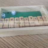 wooden shut the box indoor game set for kids ,Education toys