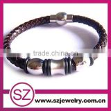 PUC0064 wholesale braided leather bracelet with magnetic clasp