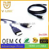 High quality and speed hdmi cable, 3m/10ft HDMI m/m cable for computer / HDTV /monitor /PS game player