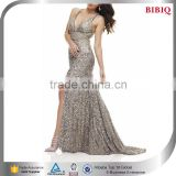 gold sequin wholesale dresses sexy backless night dress gown modern evening dress gown mature prom dresses