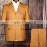 Hot sale slim fit men blazer yellow men short safari for sale