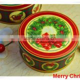 China Alibaba wholesaler wreath silver/metal tin box/christmas round tin box/Christmas gift boxes