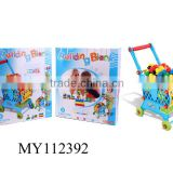 Shopping cart with plastic blocks supermarket shopping cart with building block toy toys building block toy cart