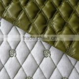Diamond PU leather embroidered quilting fabric for bags