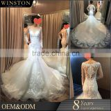High end china factory direct wholesale pakistani fancy dresses bateau neckline covered back long sleeve bridal we