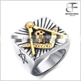 Mens Stainless Steel Embossed Freemason Masonic Symbol Skull Band Ring Black Silver Gold