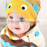 100% cotton baby beanie hat knit cute fish turtleneck baby hat