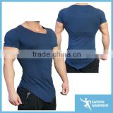 asymmetric V neck navy blue fitness t shirts fitted gym shirts mens                                                                         Quality Choice