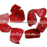 Sea Shell Beads, Dyed, Red, about 8~17x5~7x4~6mm, hole: 2mm, about 640pcs/500g(BSHE-S008-4)