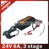 3 stage lead acid battery charger automatic for gel , wet battery ENC series 24V, 6A (ENC2406)