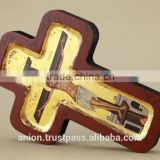 Greek & Russian Orthodox Wooden Icon. Shape of cross. Crucifix