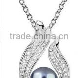 925 Sterling Silver ball pearl jewelry pendant necklace 925N-pear&crystal