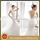 A45 Charming Unique V Neck Sleeveless Wedding Bridal Gown Beaded Sexy Mermaid Crepe Floor Length Backless Wedding Dress