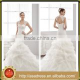A39 Elegant Organza White Bridal Party Gown Keyhole Back Beaded Cap Sleeve Wedding Dresses in Turkey Tiered Ruffles