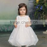 Sleeveless Organza Full Hand-Beaded Bubble Hemline Flower Girls Dress Baby girl wedding dress