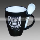 simple design stoneware coffee cups with spoon printed mug ceramic mug wholesale