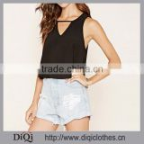 Cheap Wholesale Fashion Images Of Ladies Casual Tops ,Stretch Knit Cutout Sleeveless Women Tops