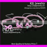 GZKJL-BL0434 Enamel Pink Ribbon Triple bracelet, pink and white shamballa bead breast Cancer Awareness cheap bracelet