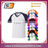 Stan Caleb 2016 new mens baseball team t shirt jersey blank striped custom with sublimation