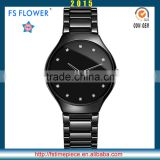 FS FLOWER - Stone Surface Black Ceramic Wrist Watch For Women Gifts