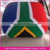 custom polyester&spandex printed elastic South Africa flag car headrest cover,car headrest flag for fans