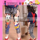 Wholesale 3~8 Years Olds Girls Jeans Korean Fashion High Quality Kids Cartoon Pencil Pants Denim