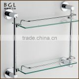 Multi-functional Grooming Zinc Alloy Chrome Plated Bathroom Accessories Wall Mounted Double Glass Shelf