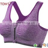 Women Sexy Sports Bras Padded Shakeproof Shockproof Wirefree Zipper Running Bra Tops Push Up Stretch Seamless Vest Tanks