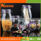 Cheap products color box Best selling imports glass jar with clamp lid from chinese merchandise