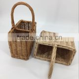 handmade 2 bottle wicker wine basket wicker Wine basket with dividers to hold 2 bottles of wine