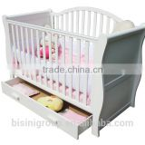 European Style New born Baby Bed, Wooden Baby Crib Multifunction Baby Crib Bed with Drawer