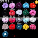 Stock wholesale Custom-made attractive pearl rhinestone fabric flower accessory for baby girl