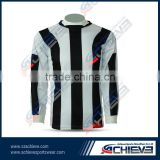 Black white stripe long sleeves Hot Selling Men's Cheap Soccer Shirts Round collar style