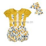 New designs Wholesale Baby Toddler Boutique Clothing Set Girl Summer Set Matching Top And Suspender Shorts With Headband