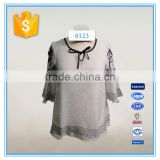 Woman Flared Sleeve Embroidery Tie Neck Cotton Fabric Casual Blouse Designs