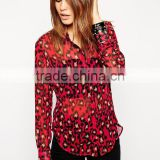 Blouse in Red Animal Print