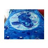 ISO Blue Anti Static Soft Mink Blanket Flower Pattern With Cotton Acrylic