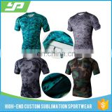 High quality compression sublimated rash guard men spandex exercise custom printed rash guard
