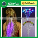 Hot sale decoration glowing flash braid light up hair fiber hair braid led glowing hair braid
