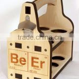 Burn stamp engraved logo plywood beer carrier,wooden 6 pack beer bottle carrier