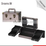 Hot Sale PVC Leather Jewelry Box Lockable Rolling Makeup Cosmetic Storage Case with Mirror