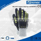 RS SAFETY HPPE knitting in full palm nitrile coated Firm grip gloves with knuckle impacts