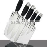 Senior durable stainless steel kitchen knife set with handle rubber and acrylic block 003A