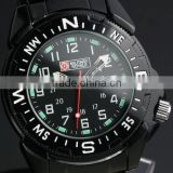 Military Watch Royale Swiss Style Mens Black Stainless Steel White Numeral Bezel Army Watch MR022